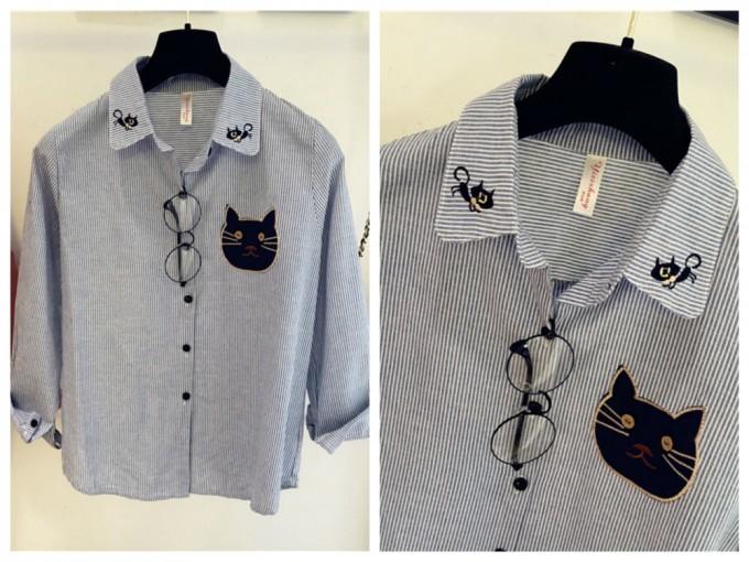 猫アップリケのシャツ