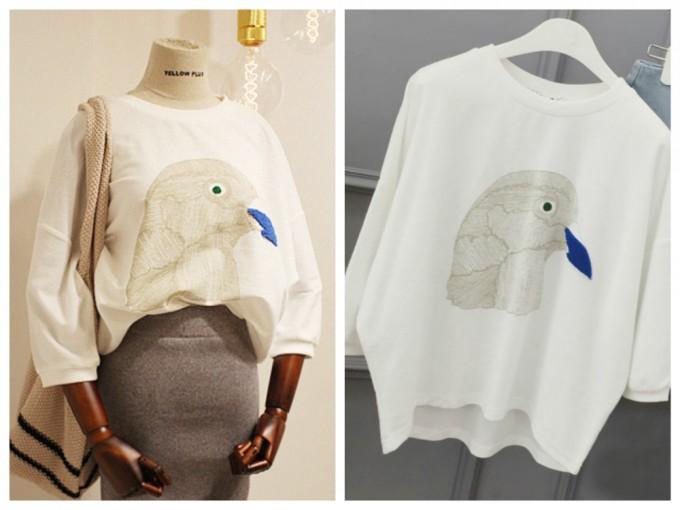 鳥柄Tシャツ