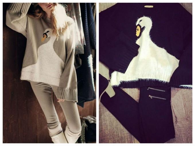 白鳥模様のセーター